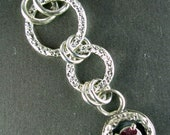 TINY TREASURES hand hammered 925 sterling silver prong set garnet open o ring suspension petite necklace Chelle 39 Rawlsky jewelry OOAK