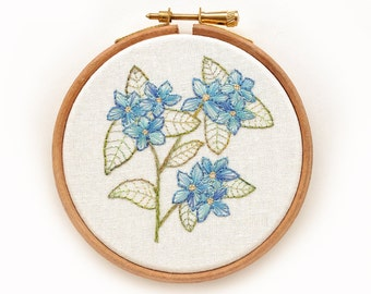 Forget Me Not Floral Embroidered Hoop Art