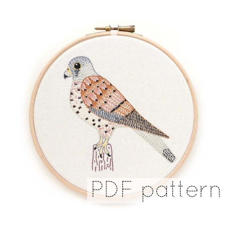 Kestrel Embroidered Hoop Art Pattern PDF Download Bird Hand image 0