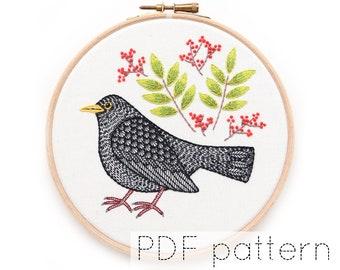 Blackbird Hand Embroidery Pattern PDF Download, Bird Embroidery Hoop Art Pattern