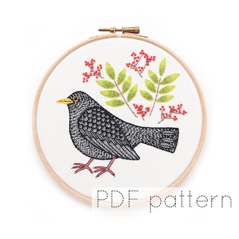 Blackbird Hand Embroidery Pattern PDF Download Bird image 0