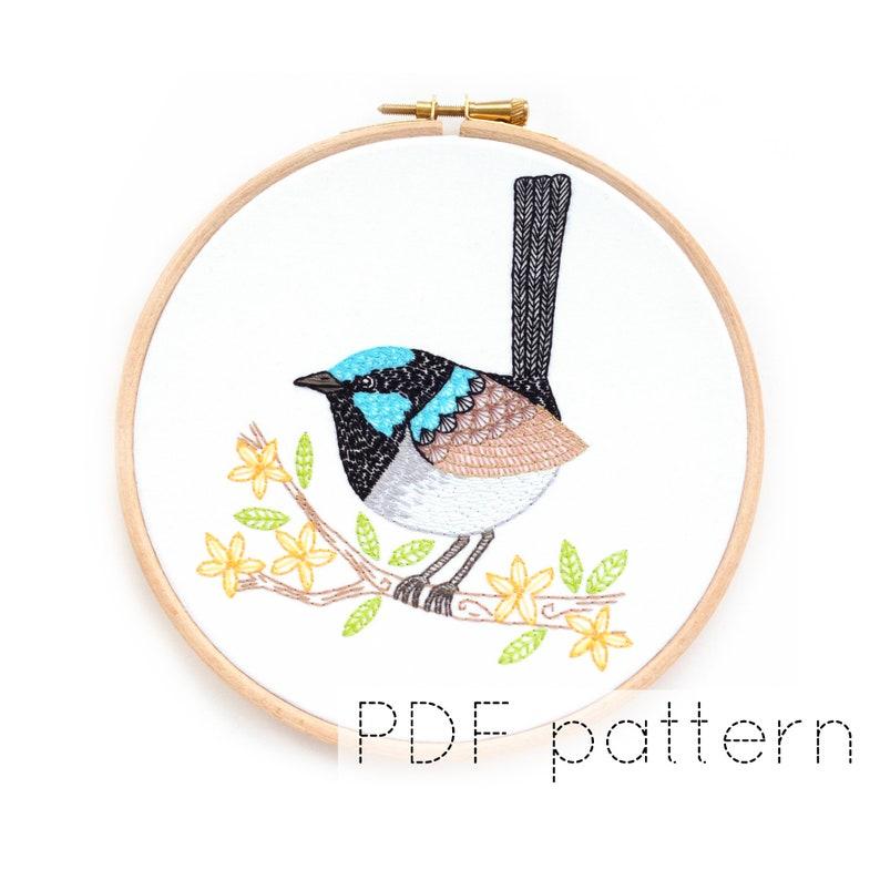 Bird Embroidery Pattern Download  Fairy Wren image 0