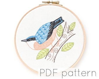 Nuthatch Bird Hand Embroidery Pattern Digital Download