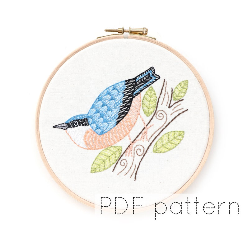 Nuthatch Bird Hand Embroidery Pattern Digital Download image 0