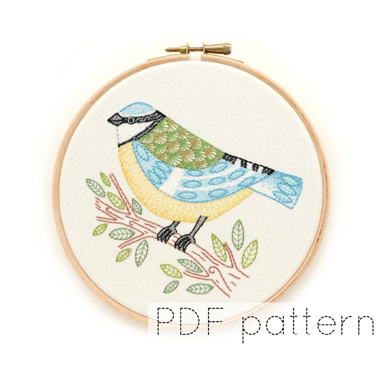 Bird Hand Embroidery Pattern  Blue Tit image 0
