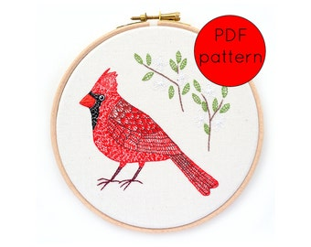 Cardinal Bird Hand Embroidery Pattern