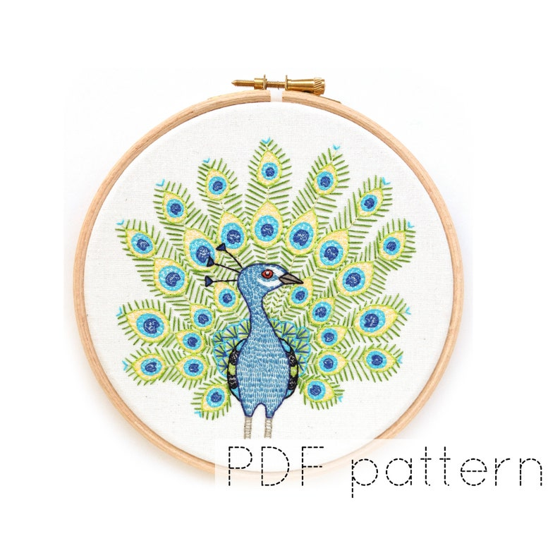 Peacock Hand Embroidery Pattern PDF Instant Download image 0