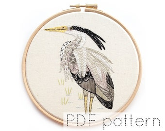 Heron Embroidered Hoop Art Pattern, PDF Download, Bird Hand Embroidery Pattern