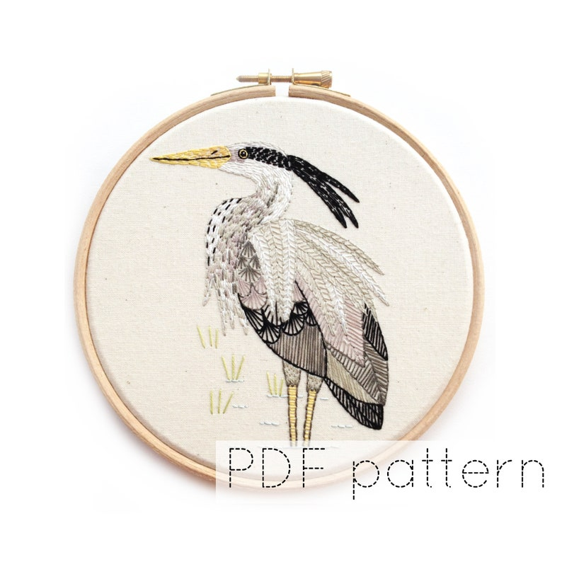 Heron Embroidered Hoop Art Pattern PDF Download Bird Hand image 0