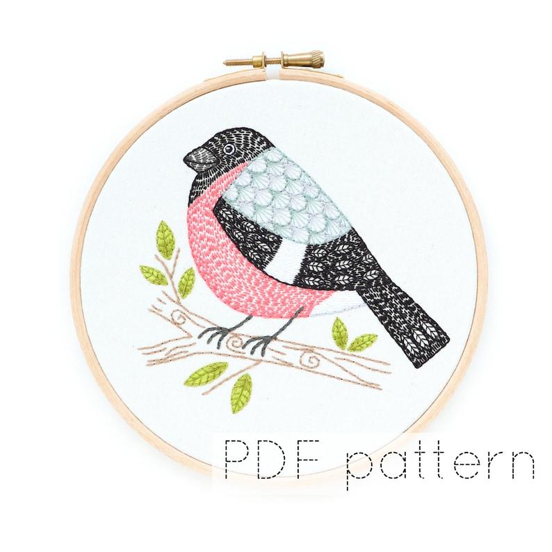 Bird Embroidery Hoop Art Pattern  Bullfinch image 0