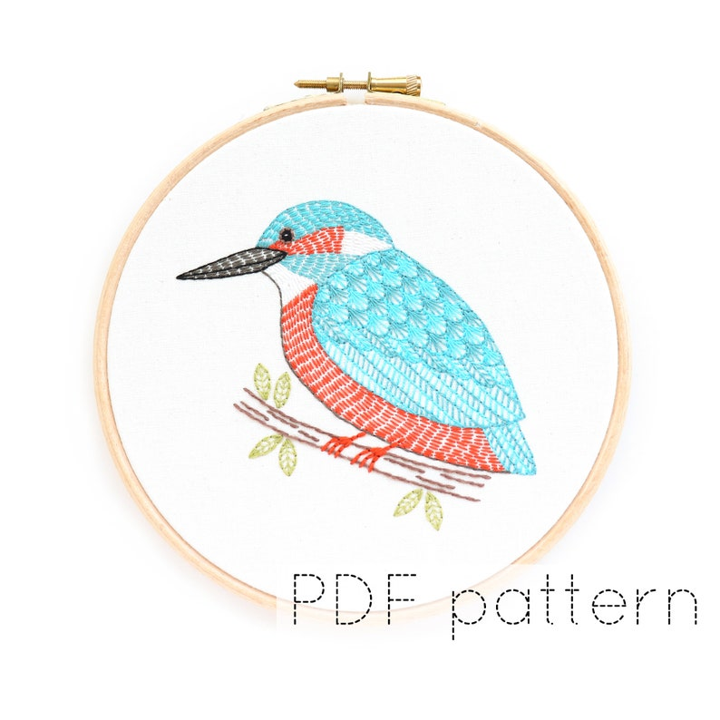 Bird Embroidery Pattern PDF Download Kingfisher Embroidery image 0