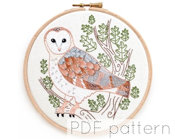 Barn Owl Embroidery Hoop Art Pattern   Instant PDF Download   Bird Embroidery Pattern