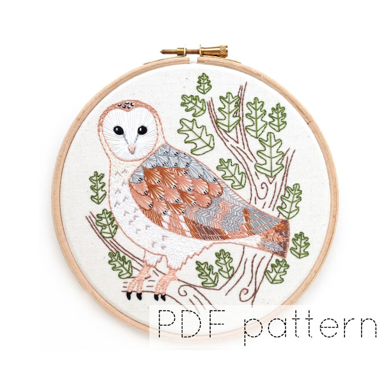 Barn Owl Embroidery Hoop Art Pattern  Instant PDF Download  image 1