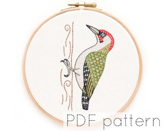 Bird Hand Embroidery Pattern Instant Download   Green Woodpecker