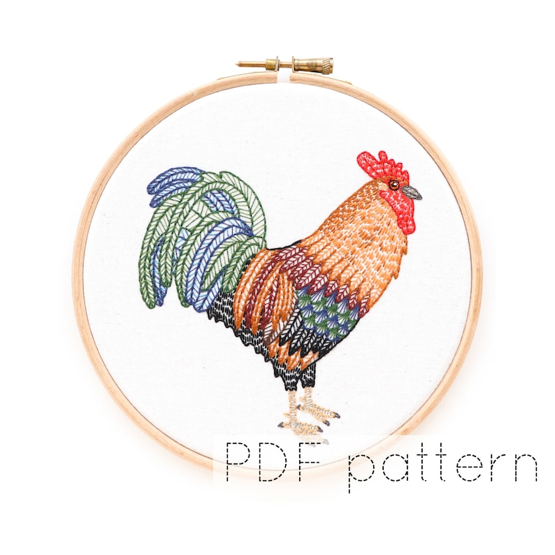 Rooster/ Cockerel Embroidery Pattern Download  Bird image 0