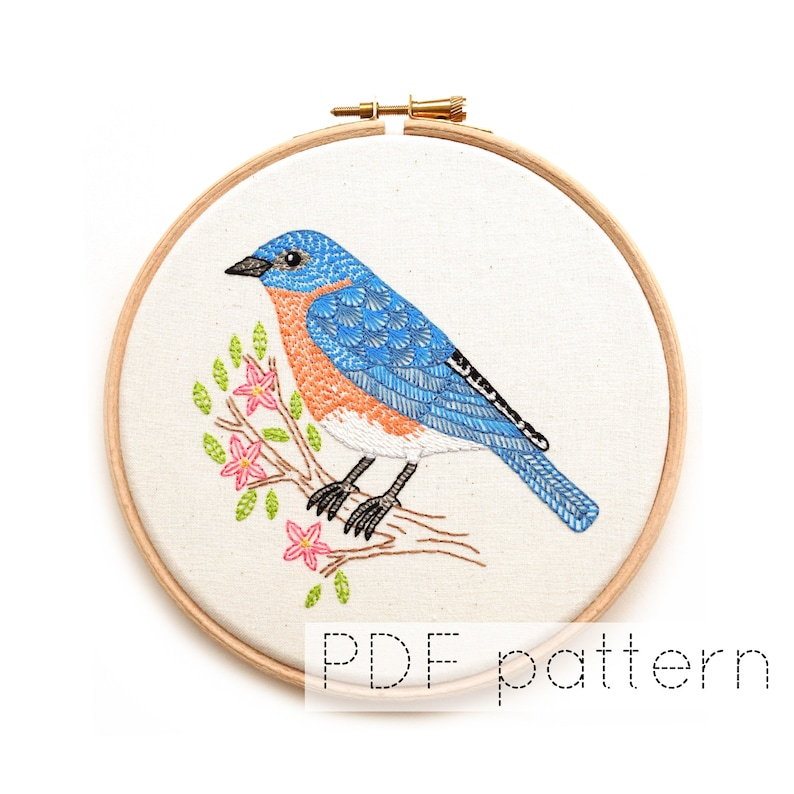 Eastern Bluebird  Bird Embroidery Pattern Instant Download image 0