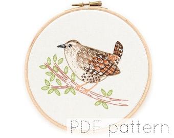 Bird Hand Embroidery Pattern Instant Download   Wren
