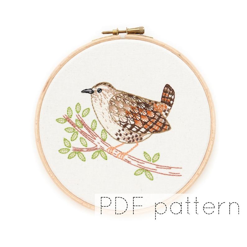 Bird Hand Embroidery Pattern Instant Download  Wren image 0