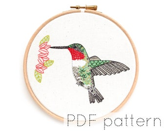 Bird Embroidery Pattern Download, Hummingbird Hand Embroidered Hoop Art Pattern