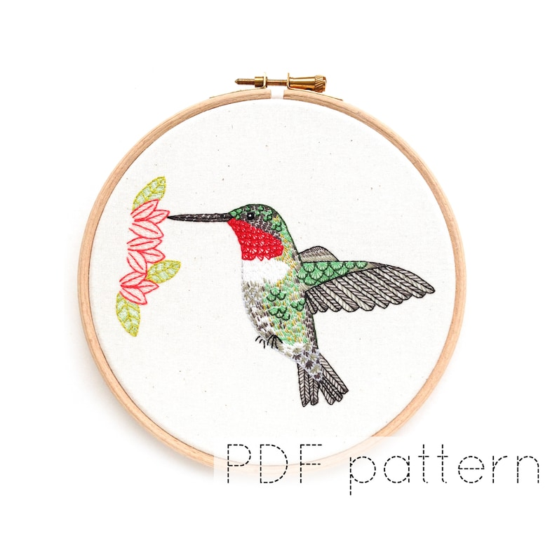 Bird Embroidery Pattern Download Hummingbird Hand Embroidered image 0