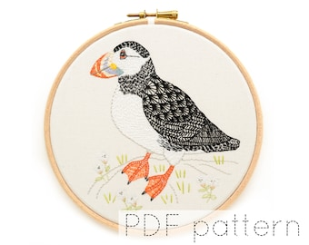 Puffin Bird Embroidery Pattern Download