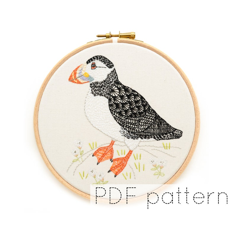 Puffin Bird Embroidery Pattern Download image 0