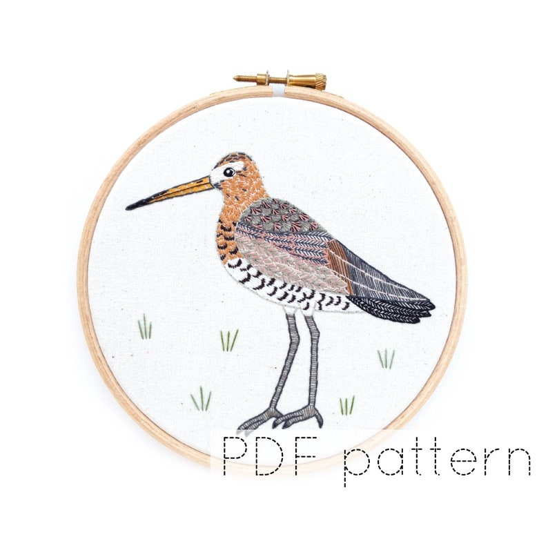 Bird Embroidery Pattern PDF Download Godwit Embroidery Hoop image 0