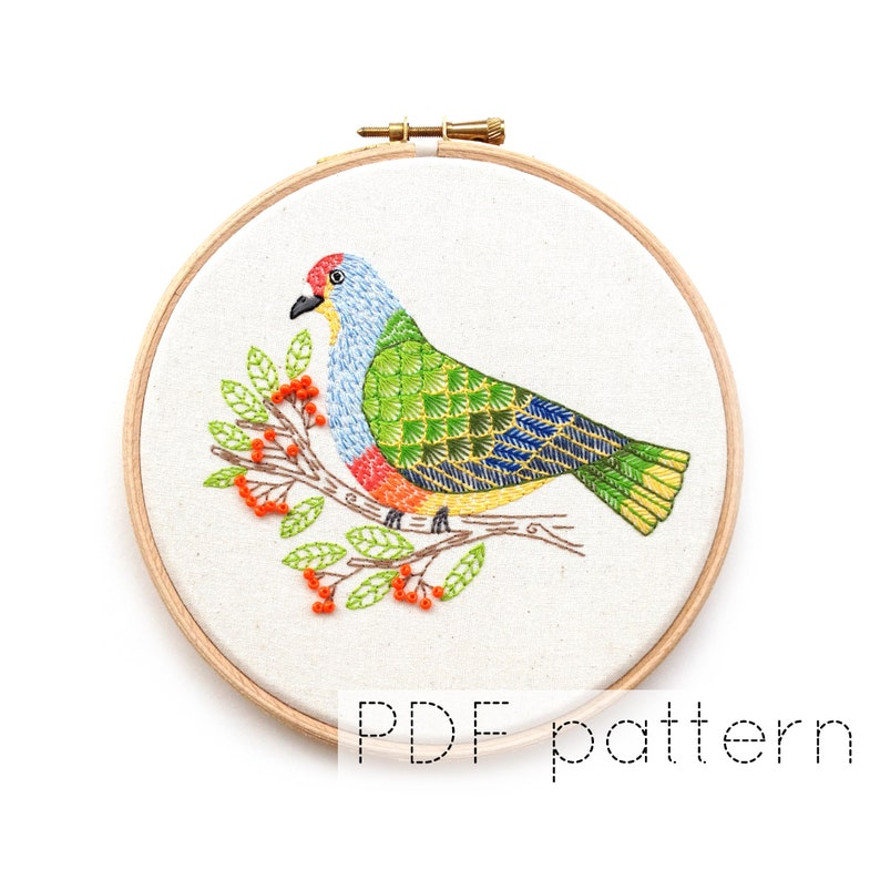Bird Embroidery Pattern  Fruit Dove Embroidery Hoop Art image 1