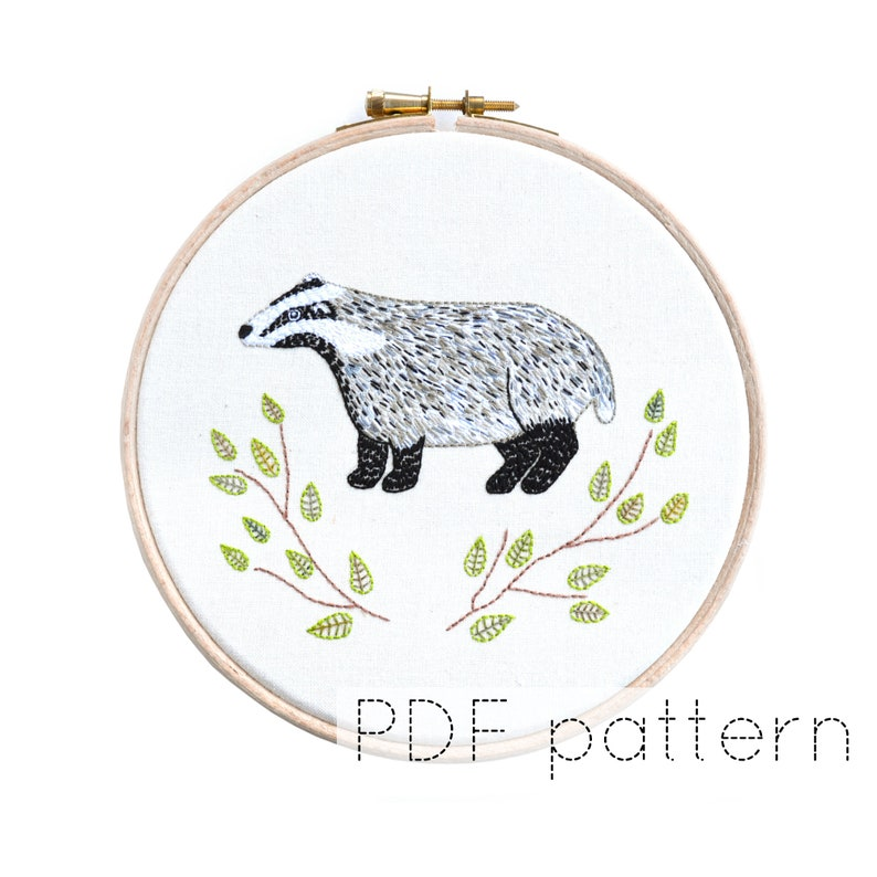 Badger Hand Embroidery Pattern Instant Download image 0
