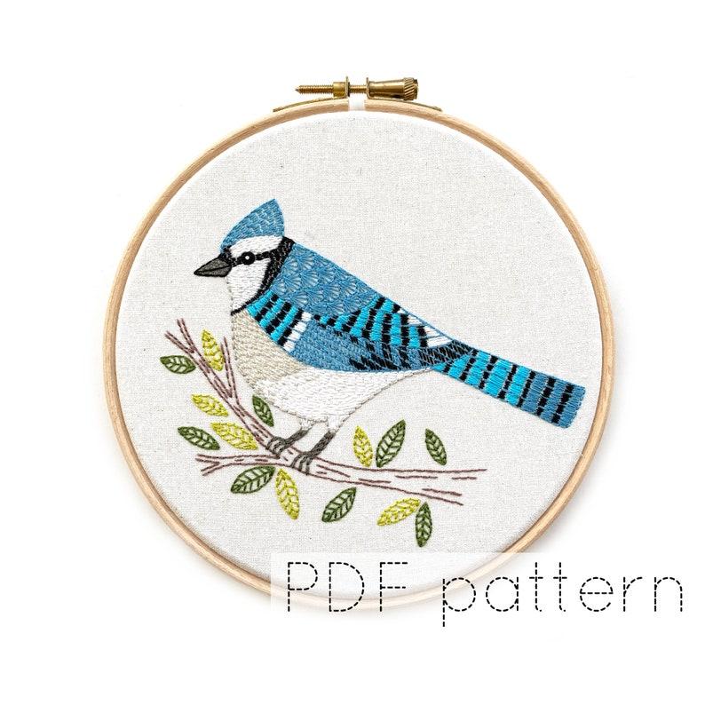 Bird Embroidery Hoop Art Pattern  Blue Jay  Bird Embroidery image 1