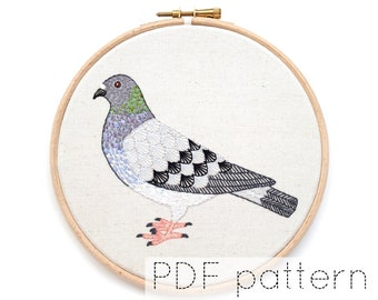 Pigeon Embroidery Pattern PDF Download, Bird Embroidery Hoop Art Pattern