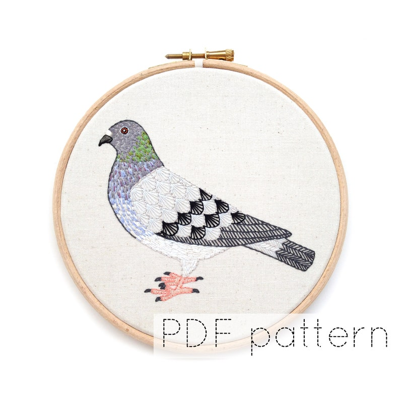 Pigeon Embroidery Pattern PDF Download Bird Embroidery Hoop image 0
