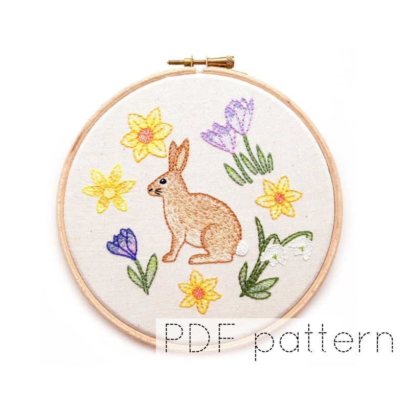 Rabbit with Spring Flowers Hand Embroidery Pattern Instant image 1