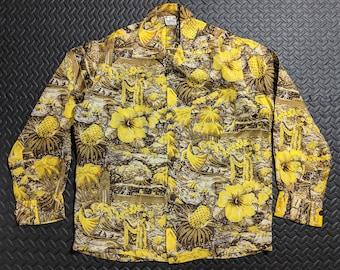 b8a3948fc Vintage Hawaiian Shirt. Aloha 1940's to 50's Mid Century. Super Rare  Andrade Silk. Land of Aloha. Men's size Medium