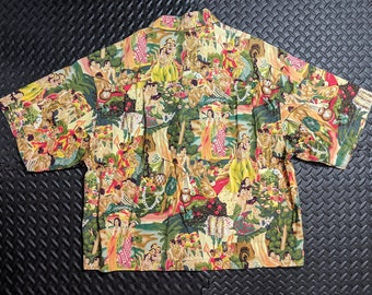 be550360 Vintage Aloha Shirt. Hawaiian, Cotton Material. Rockabilly Atomic Tiki  Oasis Fashion. SHORTER CUT