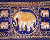 Vintage Elephant Tapestry Asian Kalaga Wall Art Hand Made Sequins Thailand Royal Blue Velvet LARGE Oriental Home Decor Indian Art
