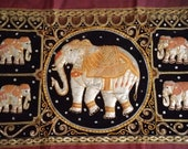 Vintage Elephant Tapestry LARGE Kalaga Burmese Wall Art Hand Made Sequins Thailand Maroon Border Oriental Home Decor Indian Art