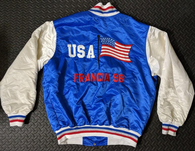 5ed54b7b9b3d3 Vintage Satin Jacket Men's sz XXL Embroidered Flag USA Francia 98 Bomber  Sukajan Retro Olympics France