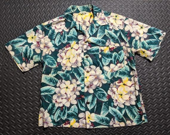Mens Vintage 1950s Lauhala Hawaiian Aloha Rockabil
