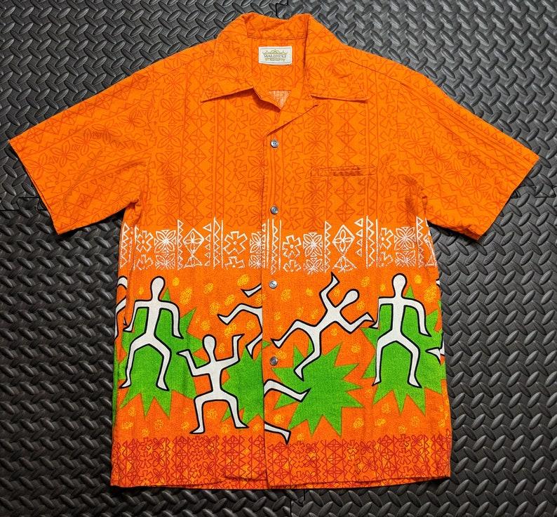 fcace5e6 Men's Vintage Hawaiian Shirt. 1970's Era sz MED. Tiki   Etsy