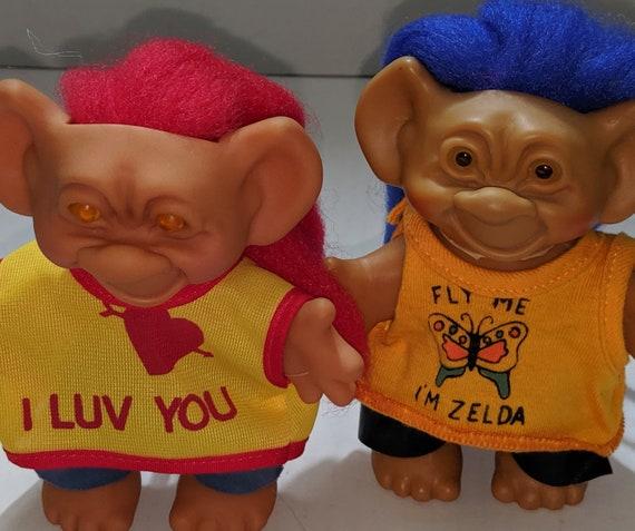 Vintage UNEEDA Wishnik Troll Dolls. 1960\u0027s Toys. Pair of Two