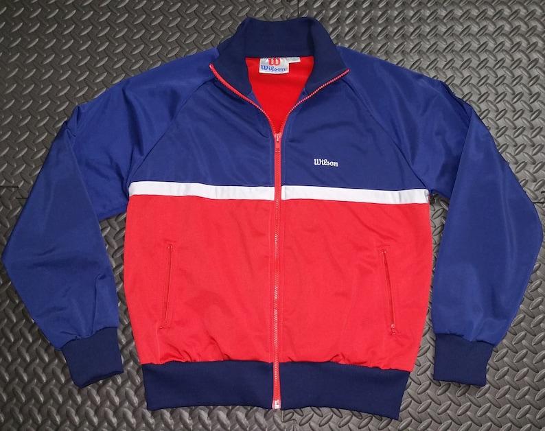 95699be6359a1 Vintage 80's Track Jacket Men's Wilson sz MED   Color Black   Full Zipper  Retro Sporty Look   Wilson Brand