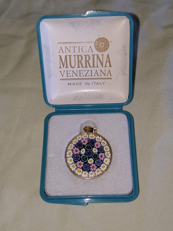 Antica Murrina Veneziana Glass Disc Floral Design Pendant Made in Italy