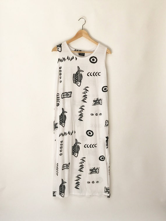 90s White Maxi Dress // Cotton Minimalist dress//