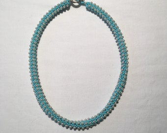 Crystal glass pearl and seed bead Rope Necklace