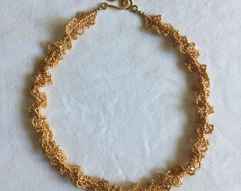Gold Beaded Lace Necklace