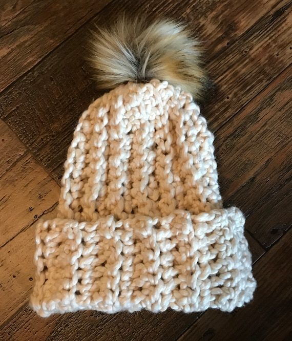 Crocheted Chunky Ribbed Beanie Hat Cream Faux Fur Pom Infant  ffd88833f33