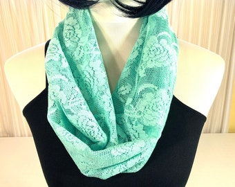 a0eb21533 Lace Infinity Scarf, Spring/Summer Lace Infinity Scarf, Mint Green Infinity  Scarf for Day/Evening/Formal/Casual, Washable Lace Scarf