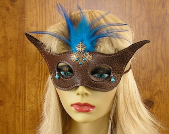 """Masquerade Leather half mask, horned Autumn lambskin leather, brass filigree, aqua feathers, brads, leather ties, size Small 6"""" wide #1515"""
