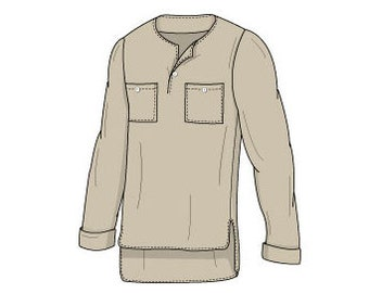 Men's Tunic Long Sleeved Top Sewing Pattern - Sizes 34-48 - Download PDF